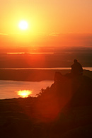 This is a sunrise view from Cadillac Mountain in Acadia National Park             in Maine.
